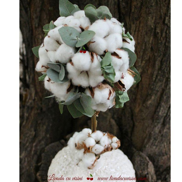 Pomisor din flori #madewithjoy #paulamoldovan #livadacuvisini #cotton #flowers #tree