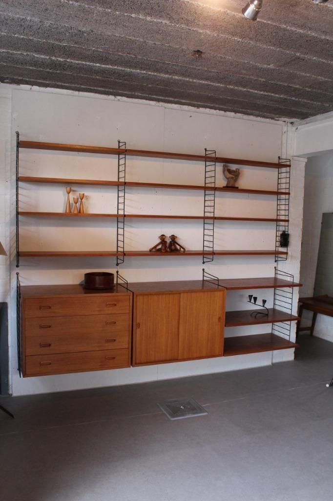 Marktplaats Boekenkast Teak.Nisse String Wandmeubel Met Ladekast Zweeds Design Retro