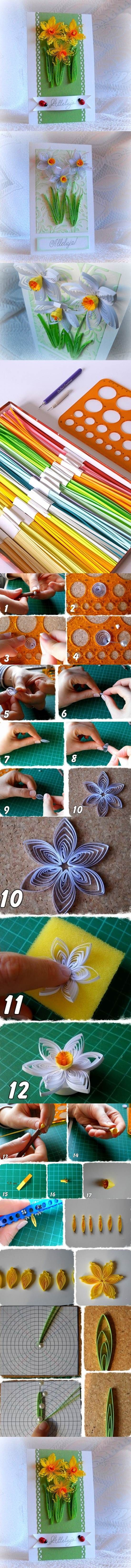 DIY Beautiful Quilling Daffodils Greeting Card | iCreativeIdeas.com LIKE Us on Facebook == https://www.facebook.com/icreativeideas