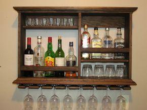 Mini Bar Espresso stain wine rack minimalist style by DogWoodShop