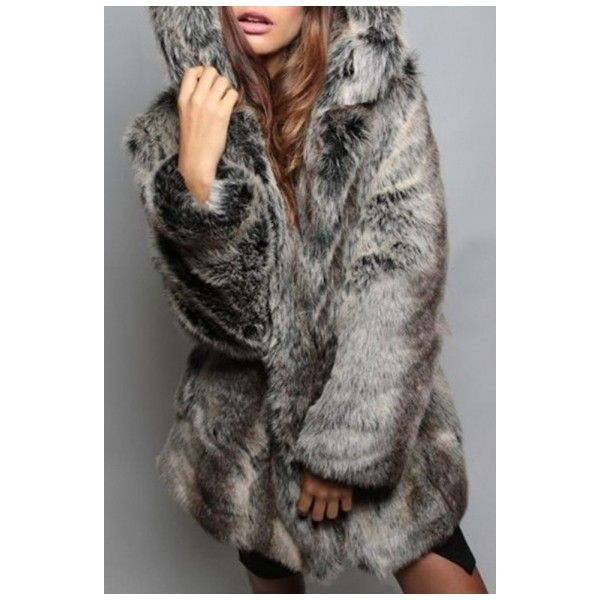 Chic Bear Ear Hooded Long Sleeve Plain Tunic Faux Fur Coat ($63) ❤ liked on Polyvore featuring outerwear, coats, fake fur coat, long sleeve coat, faux fur coat, imitation fur coats and faux coat