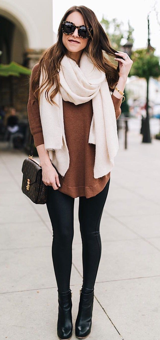 b7ba2f3ce3  winter  outfits women s white scarf and brown long-sleeved shirt and black  leggings. Click To Shop This Look.