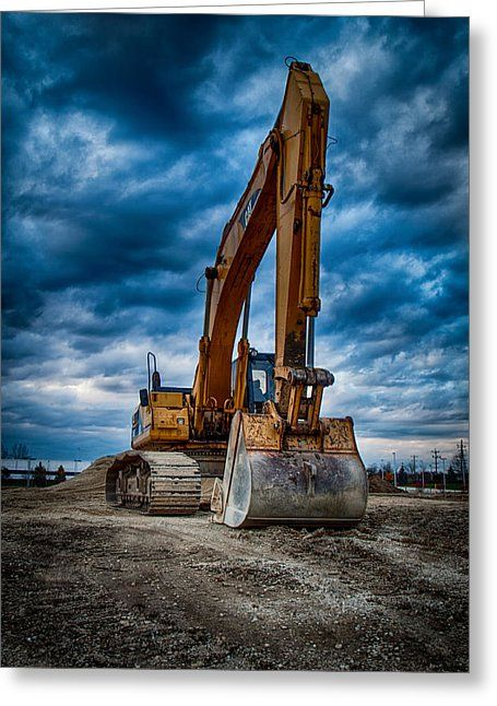 Cat Excavator Greeting Card by Mike Burgquist