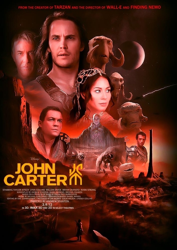 Amazing poster art for Disney's John Carter based on the books by Edgar Rice Burroughs.  Starring Mark Strong, Dominic West, Lynn Collins, Willem Dafoe, Thomas Hayden Church, James Purefoy, Brian Cranston, Ciaran Hands, Daryl Sabara and Taylor Kitsch.