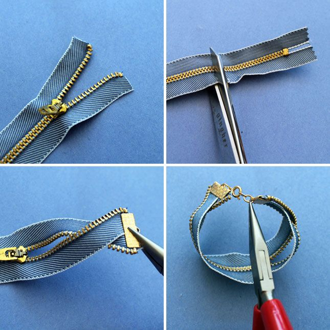 Get a zipper with a more interesting material like denim. Cut it down to the size of your wrist. Clamp one end and twist. Clamp the other end. Zip or unzip, and rock it!