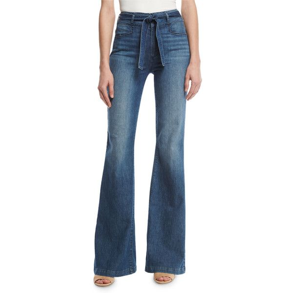 Paige Denim Chandler Belted High-Rise Flare-Leg Jeans ($249) ❤ liked on Polyvore featuring jeans, indigo, women's apparel jeans, zipper jeans, blue jeans, high waisted jeans, frayed jeans and indigo blue jeans