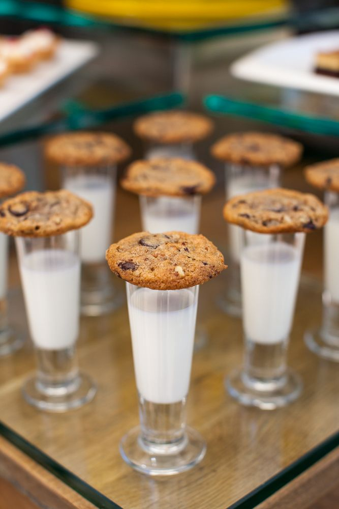 Chocolate chip milk and cookie shooters. Catering, flowers, and event design by Taste Catering.