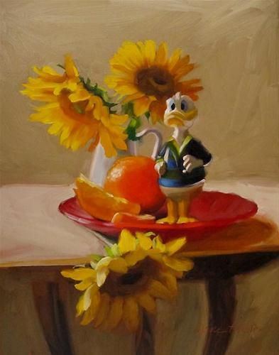 Diane Hoeptner   OIL   Watchful painting of Donald Duck Sunflowers