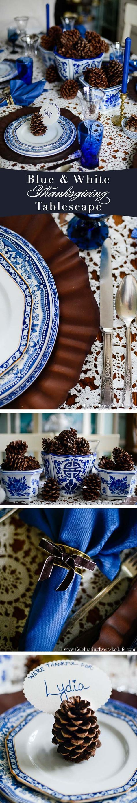 A Blue & White Fall Tablescape | Celebrating everyday life with Jennifer Carroll