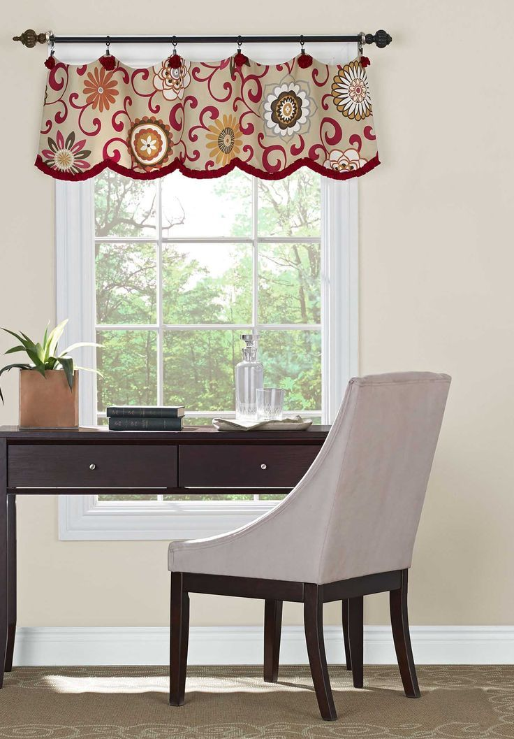 A valance doesn't have to be fixed on a board. Love the fabric, the contrast trim and the shape this valance adds to the window. Great where no curtains or ...