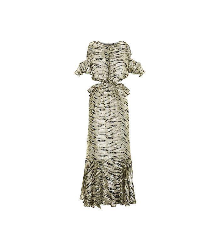 Topshop Petite Silk Ruffle Dress