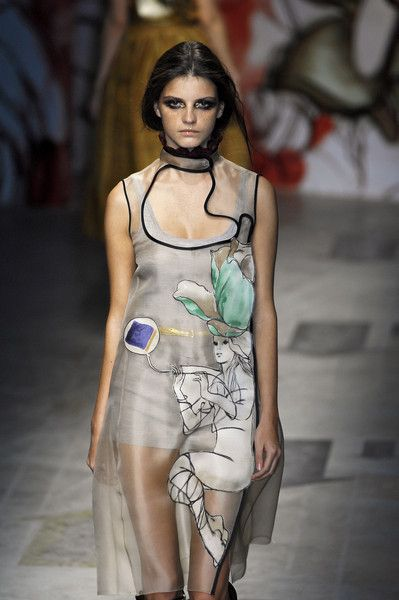 art nouveau inspired dress, prada spring 2008