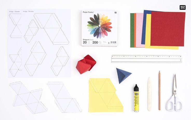 Kostenlose Downloadvorlage für Tetraeder und Oktaeder #Rico Design #Freebies deutsch #Freebies Origami #Vorlage #Origami #Geometrie #geometric #geometrisch #geometric pattern #geometric design