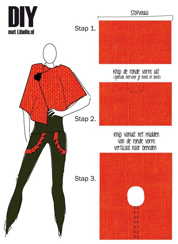 Met deze DIY heb je eenvoudig en snel een kleurrijke en elegante cape in je kast die het hele jaar door gedragen kan worden.