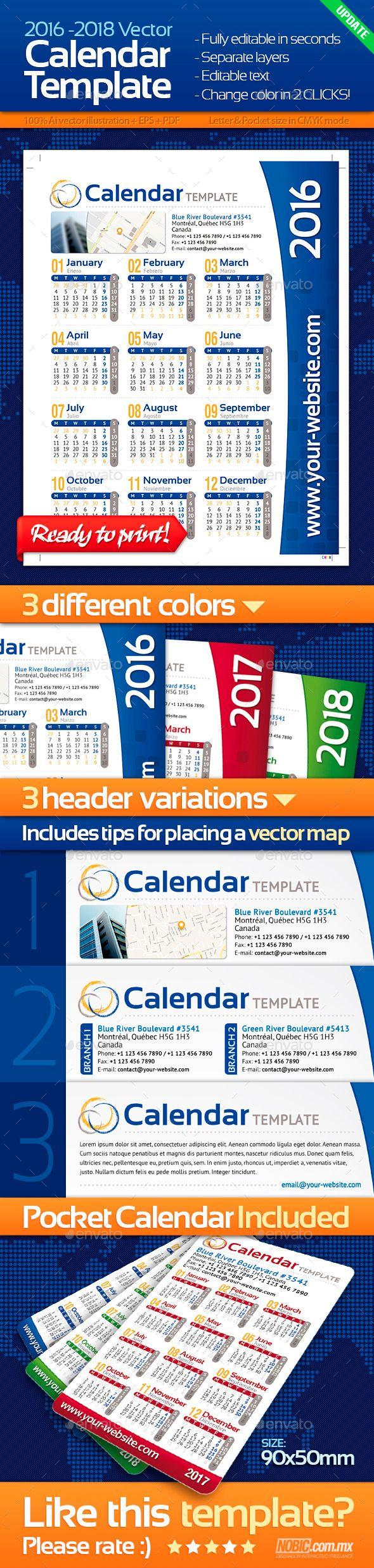 2015 and 2018 calendar template