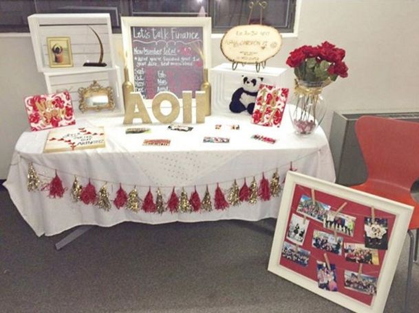 Sorority tabling: making use of space with the boxes to display photos or other memorabilia