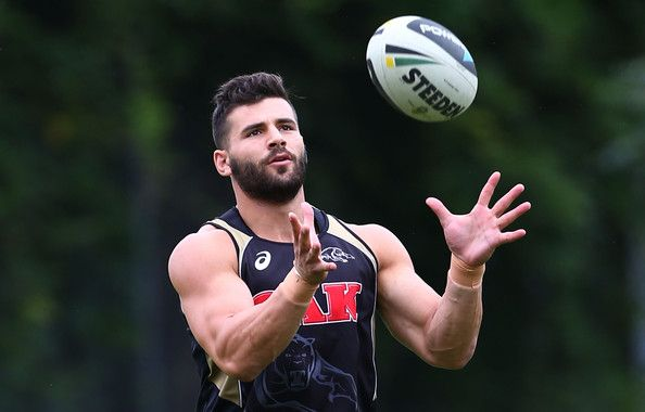 Josh Mansour catches the ball during a Penrith Panthers NRL training session at Sportingbet Stadium on March 26, 2014 in Sydney, Australia.