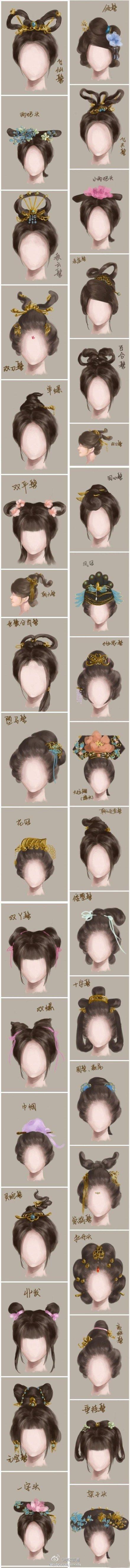 手绘版古代女子发型大全,How to Draw Hair Women's Hair - , Art Student Resources for CAPI ::: Create Art Portfolio Ideas at milliande.com , Art School Portfolio Work, Hair Styles, Girls, Drawing, Sketching