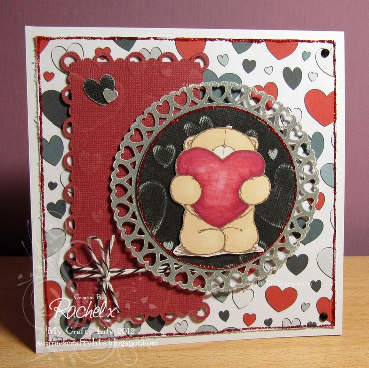 My Crafty Life: Getting carried away... with Valentine's at Forever Friends!! :)  Handmade Valentine's card, Forever Friends stamp