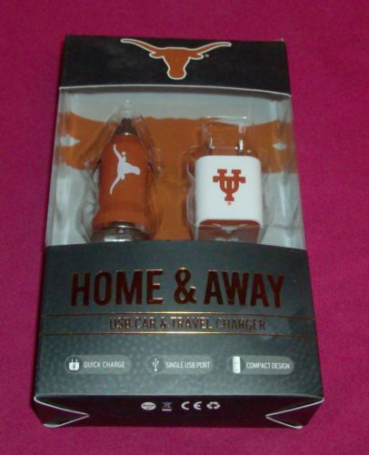 Home And Away USB Car & Travel Charger University of Texas UT Mizco Sports