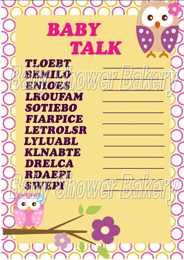 Owl Baby Shower Game Pink Owl Baby Shower For Girl Instant