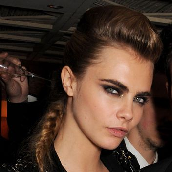 Cara Delevingne Pulling Off an Intense Smoky Eye With Really Bold Brows