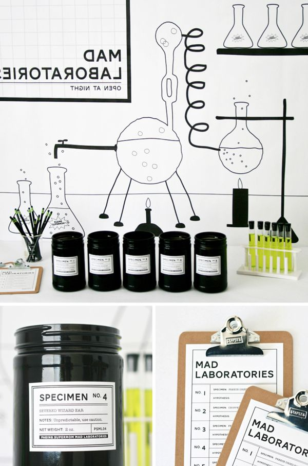 eighteen25: Pop-Up Mad Laboratory.  Fun Halloween game to play with the kids.  They have to guess what food is in each jar:  black cat's eye, bat wings, etc.