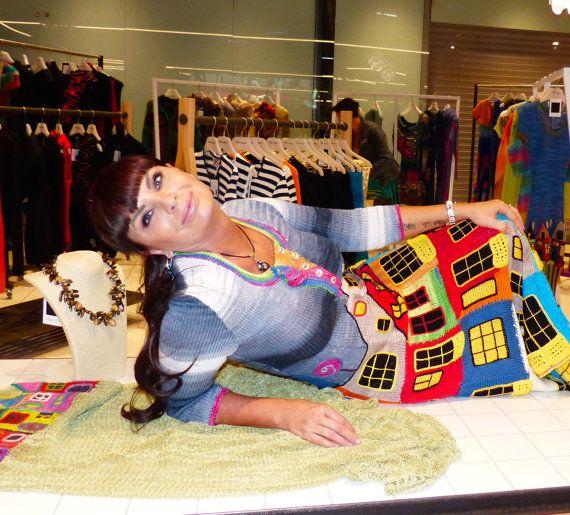 Summer knitted handmade couture dress HUNDERTWASSER  for women
