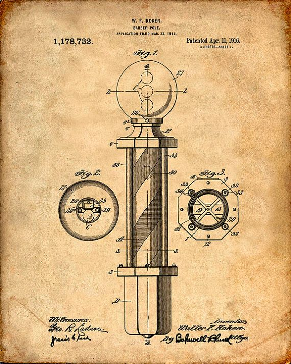 Walter F. Koken's Barber Pole patented April 11, 1916