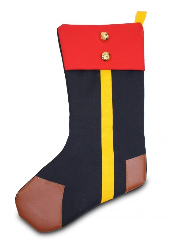 Hang the Mountie Holiday Stocking on the mantle this holiday season for a truly unique, Canadian showpiece. Showcasing the traditional uniform worn by the Royal Canadian Mounted Police, this stocking features the blue with yellow stripe representing the p