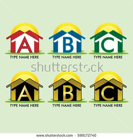 vector logo template housing, construction, building and real estate with the letter a, b, c,  with golden logo. font: futura