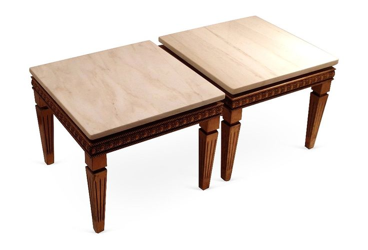 Итальянский Giltwood и мраморные столы, пара | Vintage Style | Один Kings Lane