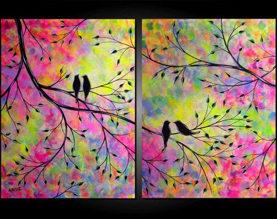 Large Abstract Love Birds In Tree Acrylic Painting Romance