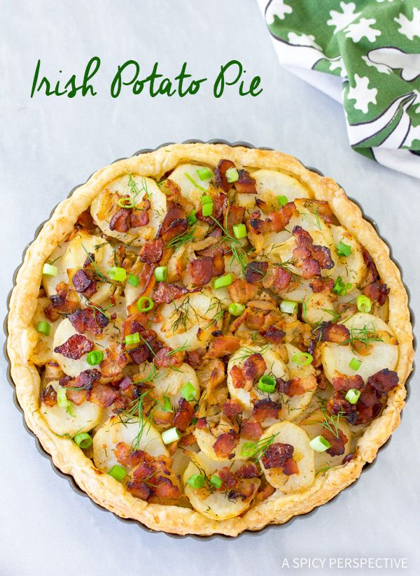 Savory Irish Potato Pie Recipe - Crispy crust layered with potatoes, onions and bacon. The Saint Patrick's Day favorite is a must have at an Irish dinner!