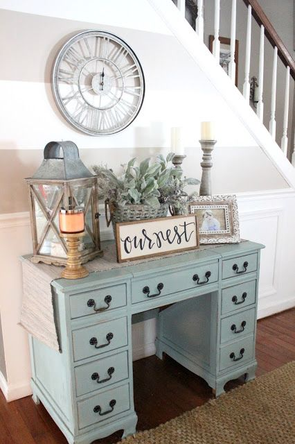 I love the idea repurposing a good piece of furniture. Check out this chalk painted desk turned hall table! DIY home decorating ideas, foyers