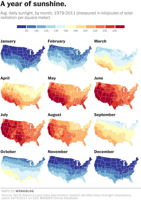 map where americas sunniest and least sunny places are