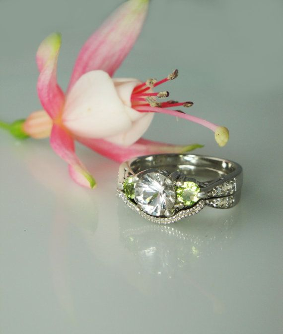 Herkimer Diamond and Peridot Antique Style Engagement Ring and Wedding Band Sterling silver and White Topaz