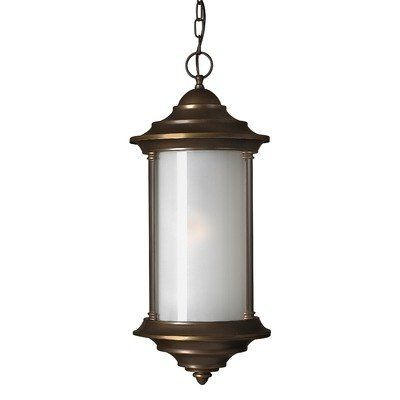 Hinkley Lighting 2542MT-ES Hanna Hanging Lantern - Energy Saving by Hinkley Lighting. $509.00. 2542MT-ES Features: -Energy Efficient fixture.-Inside-frosted glass.-6' of wire, 5' of chain. Includes: -1- 26 watt medium compact fluorescent bulb included. Color/Finish: -Solid Brass in Metro Bronze finish. Dimensions: -Overall Dimensions: 26.25''H x 11''Dia.. Collection: -Hanna outdoor collection.. Save 33%!