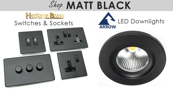 These black finished switches, sockets and down lights are a stunning and stylish addition to any home. http://www.arrowelectricals.co.uk/matt-black-t269