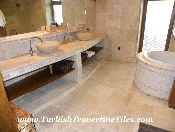 Photo Gallery Website Turkish Travertine bathroom Travertine tiles set mosaics and sinks with wood