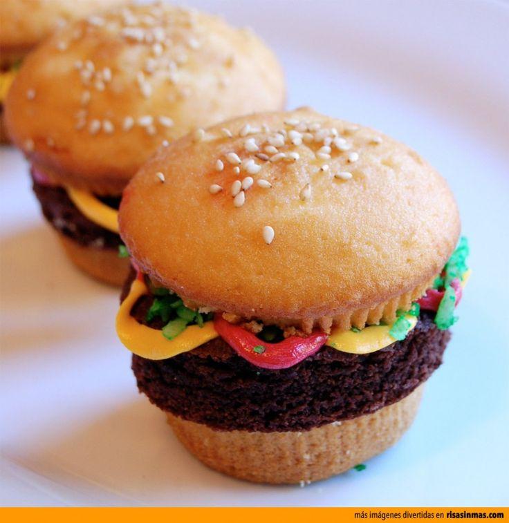 Cupcakes originales: Hamburguesa