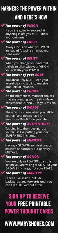 [FREE PRINTABLE] Harness the Power Within... And Here's How - FREE Thought Cards When You Sign Up - Mary Shores - Hay House Author