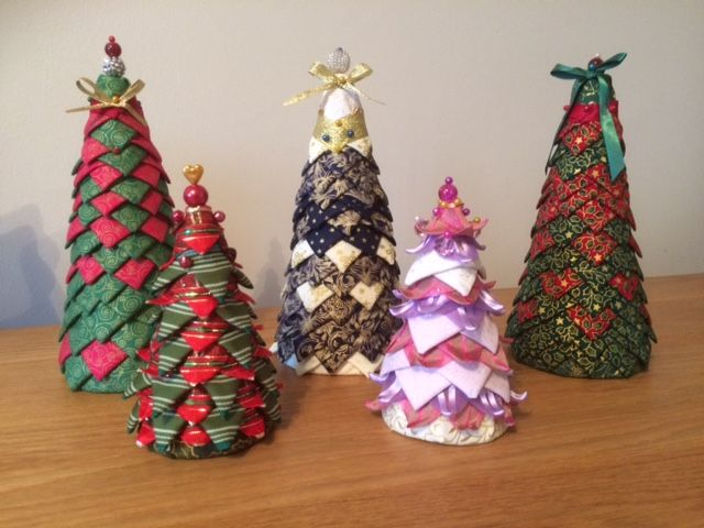 Christmas Trees I Made These Folded Fabric Ornaments For