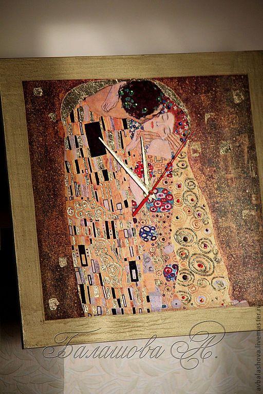 """Купить Большие часы """"Золотая романтика Климта"""" - золотой, Климт, Поцелуй Климта, часы Климт"""