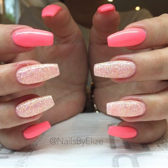 pinterest: @xpiink ♚ pink glitter nails acrylic tips