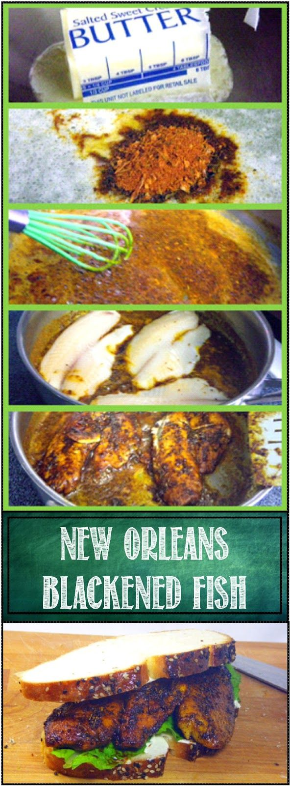 New Orleans Blackened Fish - PERFECT Every Time... FAST and EASY (so fast, 5 minutes from freezer to sandwich meat). WITH THE INCREDIBLE FLAVORS OF BLACKENING Spices, the Cajun legend come home. So fast, so easy and laissez les bons temps rouler... As they say in the Crescent City... Let the Good Times Roll... Indeed