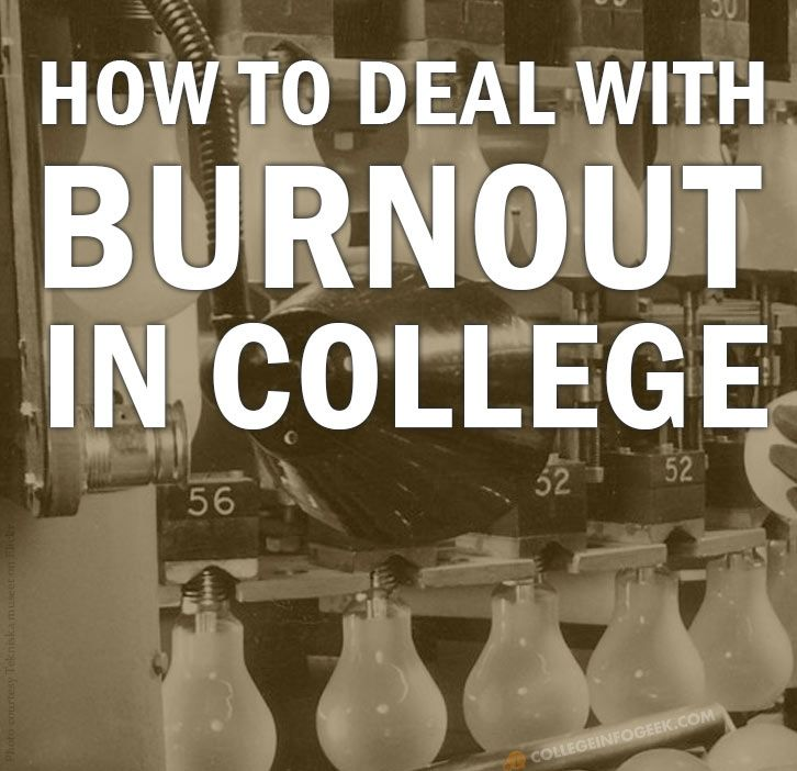 Burnout in College: What Causes It and How to Avoid It. It's normal to feel overwhelmed as a student. Here are some tips for avoiding burn out so that you can stay healthy and get good grades.