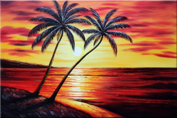 palm tree sunset paintings | Palm Trees at Sunset in Hawaii Seascape Naturalism Oil Painting ...
