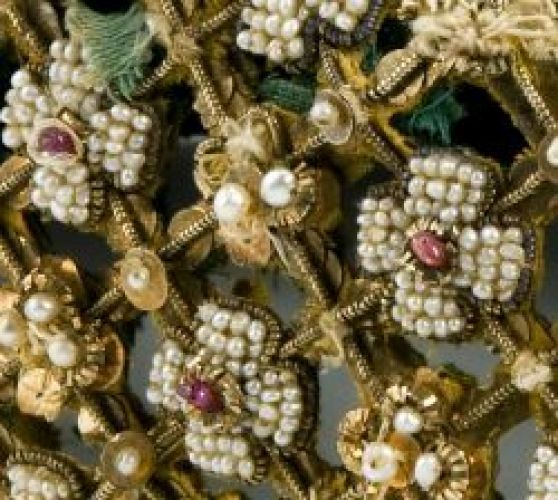 Persian and Urdu style Zardozi Embroidery - detail of an Islamic hat, 19th century, India. Materials silk, gold, pearls and rubies.
