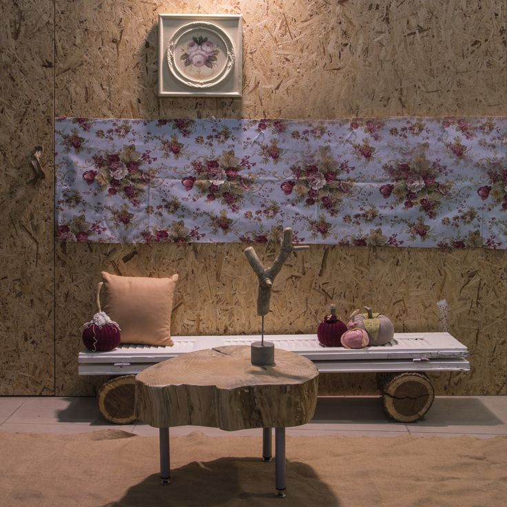 Living room composition for youth with flowery details. An alternative corner with wood and wool materials for cozy moments by thecreativehut.gr